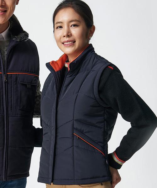 PV-WL-V1202 여성용패딩조끼(동복:카라배색)